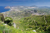 Landcsape of Sicily from Erice city, Italy — Stock Photo