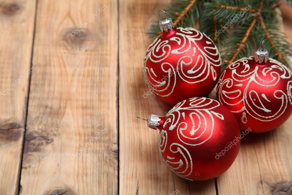 Christmas decorations on a wooden background — Stock Photo #13512486