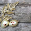Christmas decorations: golden twig and balls - Stok fotoğraf