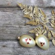 Stock Photo: Christmas decorations: golden twig and balls