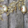 Christmas decorations: golden twig and balls  — Stock Photo
