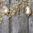 Christmas decorations: golden twig and balls - Zdjęcie stockowe