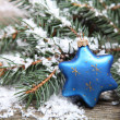 Blue Christmas decorations - Stok fotoğraf