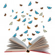 Open book with butterflies flying from it - Photo