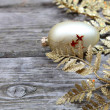 Golden twig and ball - Stock Photo