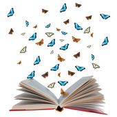 Open book with butterflies flying from it — Stock Photo
