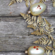 Golden twig and balls - Stock Photo