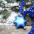 Blue Christmas decorations — Stock Photo