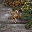 Golden Christmas decorations - Stock Photo