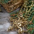 Golden Christmas decorations  — Stock Photo