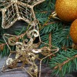 Golden Christmas decorations - Lizenzfreies Foto