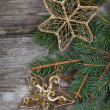 Golden Christmas decorations — Stok fotoğraf #14629871