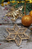 Golden Christmas decorations — Foto Stock