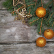 Golden Christmas decorations — Stockfoto #15639551