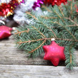 Red Christmas decorations — Stok fotoğraf #15873399
