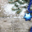 Blue Christmas decorations — Photo