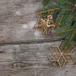 Golden Christmas ornaments - Foto Stock