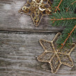 Golden Christmas ornaments - Stockfoto