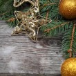 Golden Christmas ornaments - Stock Photo