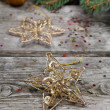 Golden Christmas ornaments - Stok fotoğraf