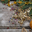Stock Photo: Golden Christmas ornaments