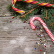 Christmas candy and spruce branches — Stockfoto