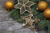 Golden Christmas ornaments — 图库照片