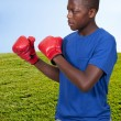 Black Teenage Boxer — Stock Photo