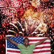 Man at Fireworks - Stock Photo