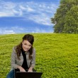 Stockfoto: Woman Using Laptop