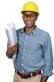 Construction Worker with Blueprints — Stock Photo