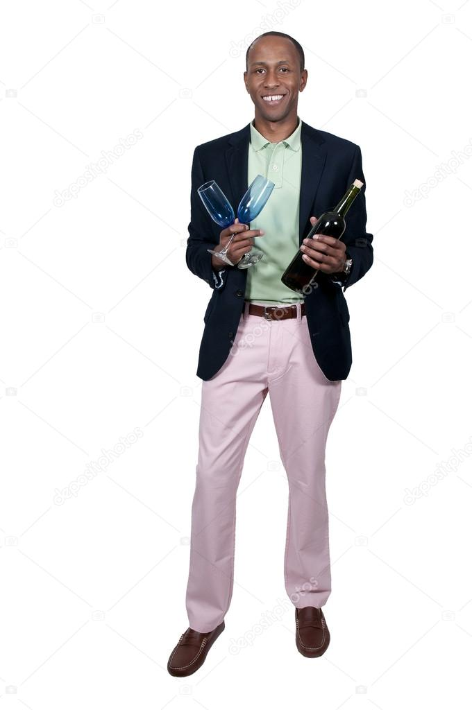 Black African American man holding a wine bottle and glass  — Stock Photo #13505243