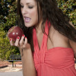 Woman Eating an Apple — Stok fotoğraf