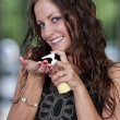 Woman with Lotion — Stock Photo