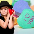 Girl with Conversation Hearts — Stock Photo