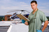 Doctor and Life Flight Helecopter — Stock Photo