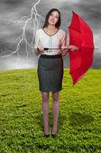 Woman Holding Umbrella — Stock Photo