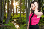 Woman in a Spring Forest — Stock Photo