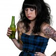 Woman Sick on Beer — Foto Stock
