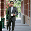 Man with Brief Case and Coffee — Stock Photo