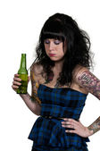 Woman Sick on Beer — Stock Photo