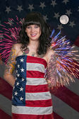 Woman at Fireworks in a Flag — Stock Photo
