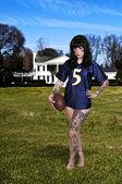 Woman Playing Football — Stock Photo
