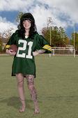 Mulher jogando futebol — Foto Stock