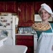 Woman Chef with Pie — Stock Photo #19602037