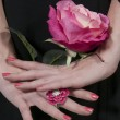 Woman Holding Rose — Stock Photo