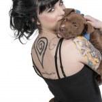 Beautiful Woman and Pit Bull Puppy — Stock Photo #25519567