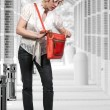 Woman with Purse — Stock Photo