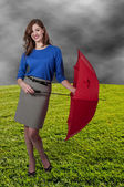 Paraguas mujer holding — Foto de Stock