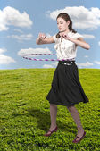 Woman with Hula Hoop — Stock Photo